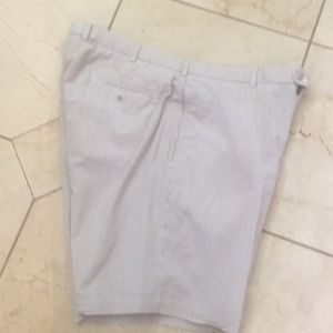 Men's flat front brown and white stripe shorts